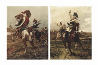 a zieten hussar in the heart of battle; and a cuirassier leading the charge (2 works) by woiciech (aldabert) ritter von kossak