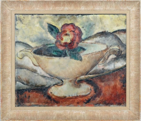 still life of a bowl with a flower by bradley walker tomlin