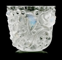 a rene lalique molded and opalescent glass avallon vase by rené lalique