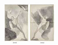 two studies of satan and the birth of sin (recto and verso) by henry fuseli