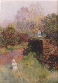 evening light on the road to shotwick, near chester by george henry alan brown