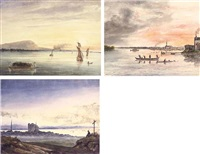 vue de montréal prise de la prairie canada (+ 3 others, smllr; 4 works) by francois mathurin adalbert
