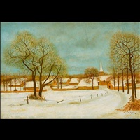 untitled - snow covered farm by andré renoux
