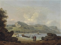 fishing boats returning to the beach on the devonshire coast by thomas luny