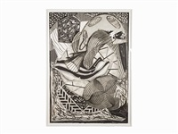the cabin, ahab and starbuck by frank stella