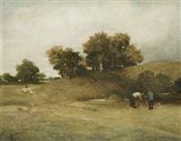 two men working near a pond by jack cudworth