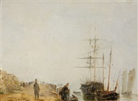 sailing ships by a jetty by baron jean antoine théodore gudin