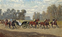 the imperial entourage with emperor franz josef i (1848-1916) on his horse, empress elisabeth (1854-1898) (known as sisi) and their youngest daughter archduchess marie valerie (1868-1924) in the carriage by alexander ritter von bensa