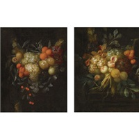 a swag of blue and white grapes, oranges, chestnuts, cherries and apricots (+ a swag of blue and white grapes, chestnuts, lemons, peaches and corn on a ledge; pair) by jan pauwel gillemans the younger