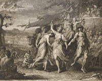 orpheus instructing a savage people (+ a grecian harvest home; pair) by james barry