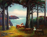 figures and horses in coastal landscape by horatio nelson poole