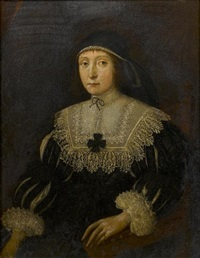 portrait of a lady, three-quarter-length, in a black dress with slashed sleeves and white lace collar and cuffs by gilbert jackson