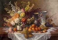 stillleben mit blumen und früchten by josef (kamenitzky) steiner