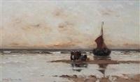fisherwomen by a beached bomschuit by gerhard arij ludwig morgenstjerne munthe