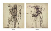 study of two male nudes, chained to a post (recto); study of a greek athlete (verso) by henry fuseli