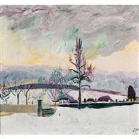 winterlicher blick aus cuno amiets ateliergebäude by cuno amiet