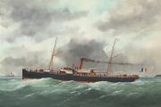 mustapha ben ismaël sortant du havre, navire mixte de la cie gale transatlantique by édouard adam