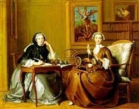 a conversation piece: two ladies in an interior (g. de noailles, duchesse de villars, and l. de noailles, duchesse de caumont?) by jacques autreau