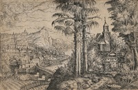 two pines and a church across from a rivertown by hans sebald lautensack