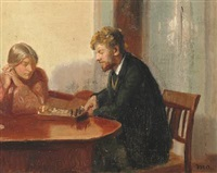 engel saxild and henry madsen playing chess in ancher's house by michael peter ancher