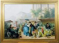 flower market by the madeleine, paris by jules henri veron-fare
