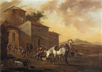 an italianate landscape with a hunting party before an inn by jacob de heusch