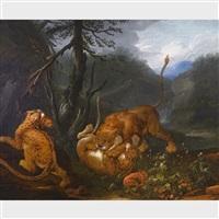 löwen beschützen ihre kleinen vor einem angriff (lions protecting their young) by carl borromaus andreas ruthart