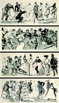 quatre frises mondaines, scènes de bal (4 works) by charles paul renouard