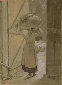 femme portant un ballot de foin sur la tête by louis emile adam