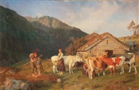 troupeau et bergers en alpage by anders monsen askevold