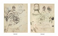 a sheet of figure studies including a possible study of mrs fuseli from behind and a mourning group (recto); studies of women's heads in elaborate headdresses seen from behind (verso) by henry fuseli