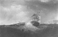 shipping off the coast in stormy seas by charles temple dix