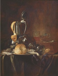 a pewter jug and cover with a peeled lemon, a roemer, a bread roll and a pipe on a pewter plate with cards, books and a pocket watch, on a draped table by simon luttichuys