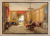 vue d'un salon sur la campagne à guigonat près de genève by jodocus sebastiaen van den abeele