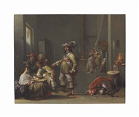 a guardroom interior with soldiers and peasants smoking, drinking and playing cards by jacob duck