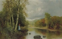 a lake through a wooded landscape with a young girl and a deer by ernest w. appleby