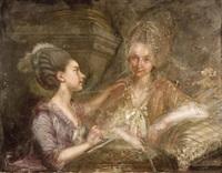 portrait der comtesse maria plater, die ihre tante, stiftsfräulein anna von remscheid, zeichnet by caspar melling