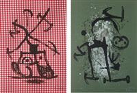la dame aux damiers; and l'illetré vert (2 works) by joan miró