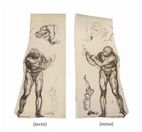 study of a pugilist donning a long sleeved leather glove and a seated figure (recto); a study of a pugilist donning a leather glove, a small study of a head and of a further figure reaching up (verso) by henry fuseli