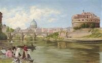 vue sur le tibre à rome avec le château et le pont saint-ange by abel boulineau