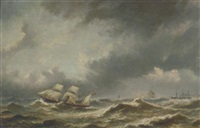 steamers on a stormy sea by bartol wilhelm van laar