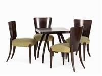 four chairs & table (model h214 ad h259) (set of 5) by jindrich halabala