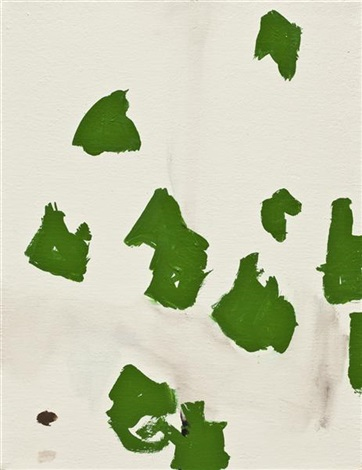 untitled (green marks and black lines) by richard aldrich