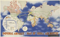 imperial airways/map of empire & european air routes by lászló moholy-nagy