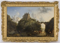 rural scene with castle in the background by henry c. gritten