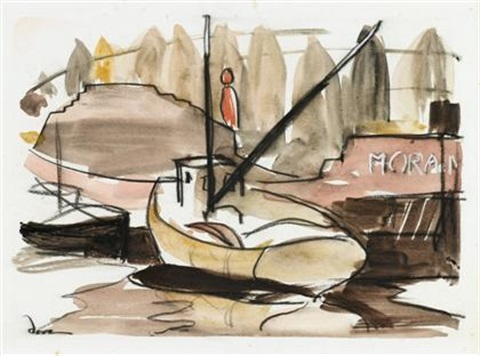 fishing boat and barge by arthur dove