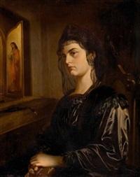 charlotte von belgien sitzend vor hausaltar by ferdinand maass