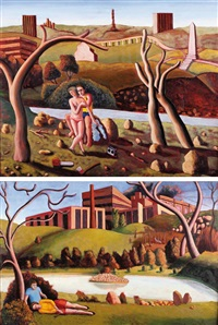 figures by the river by david keeling