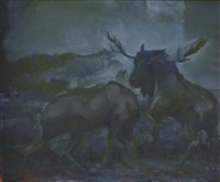 untitled (two moose) by mark innerst