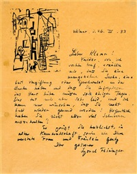 brief an walther klemm by lyonel feininger